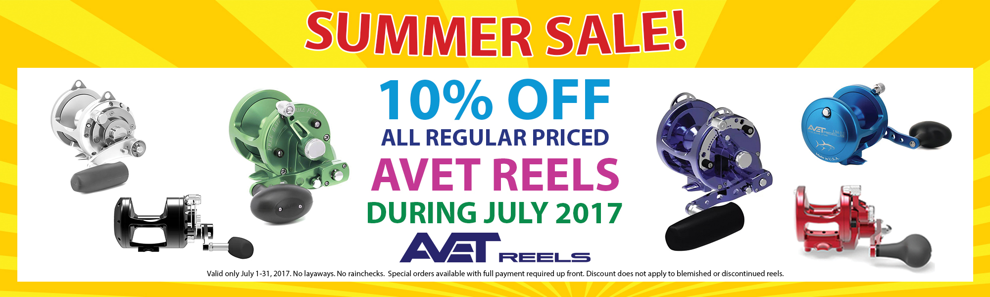 10% Off Avet Reels during July 2017