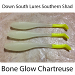 Down South Southern Shad Lures - Glow Chartreuse