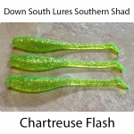 Down South Southern Shad Lures - Chartreuse Flash