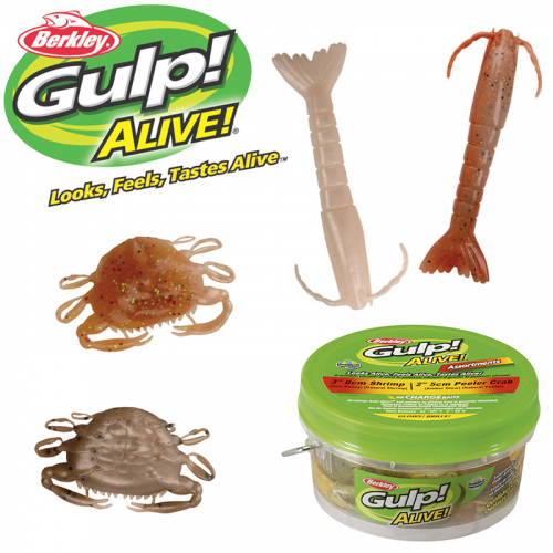 Berkley Gulp Alive 3in Shrimp 2in Peeler Crab Assortment Pint Bucket