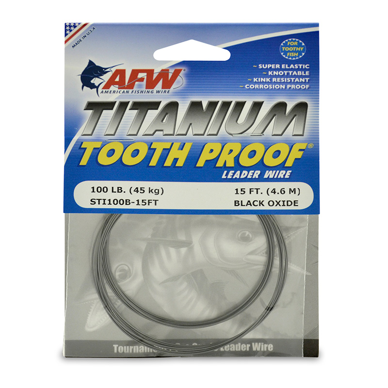 AFW TITANIUM TOOTH PROOF LEADER WIRE STI100B-15FT