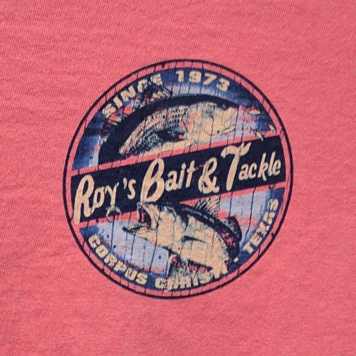 ROYS REDFISH TROUT T-SHIRT RED CLOSEUP